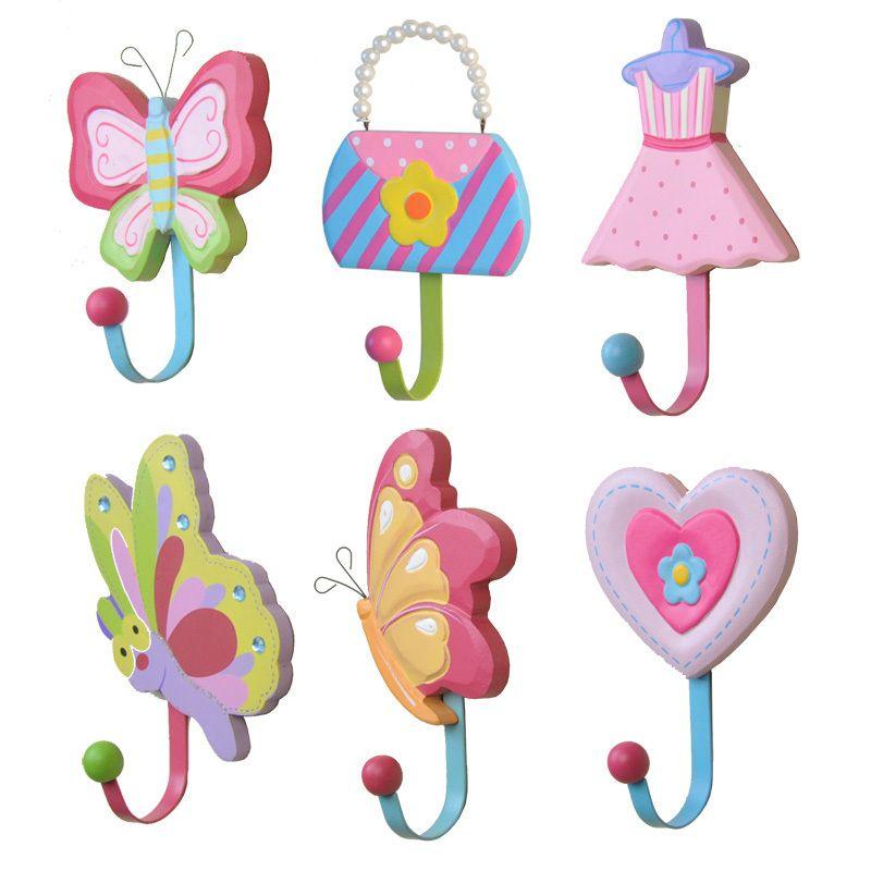 Kids Bedroom Hooks korean garden wooden coat hooks children's creative cartoon