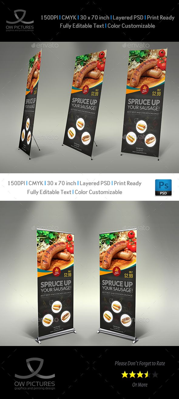 Sausage Restaurant Roll-Up Template PSD. Download here: http://graphicriver.net/item/sausage-restaurant-signage-template/15611880?ref=ksioks