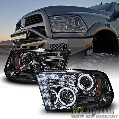 Smoke 2009 2017 Dodge Ram 1500 2500 3500 Halo Led Projector Headlights Headlamps