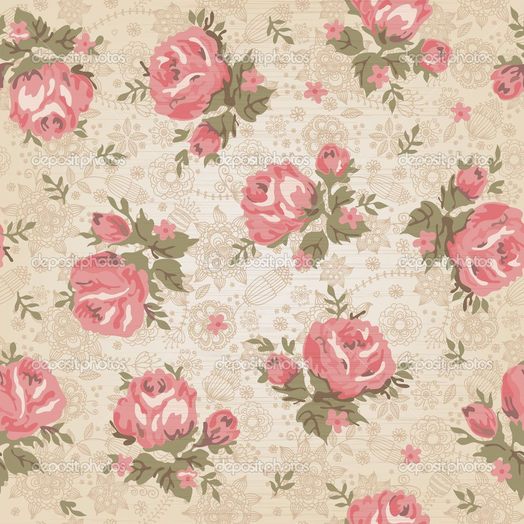 Vintage flower background vintage seamless floral for Wallpaper home vintage