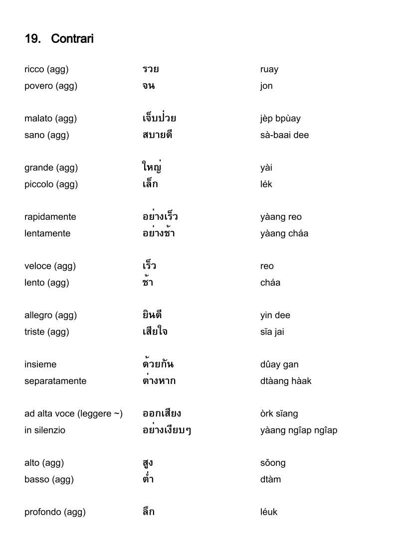 Vocabolario Italiano Thailandese Contrari Learn Thai Language Learn Thai Thai Words