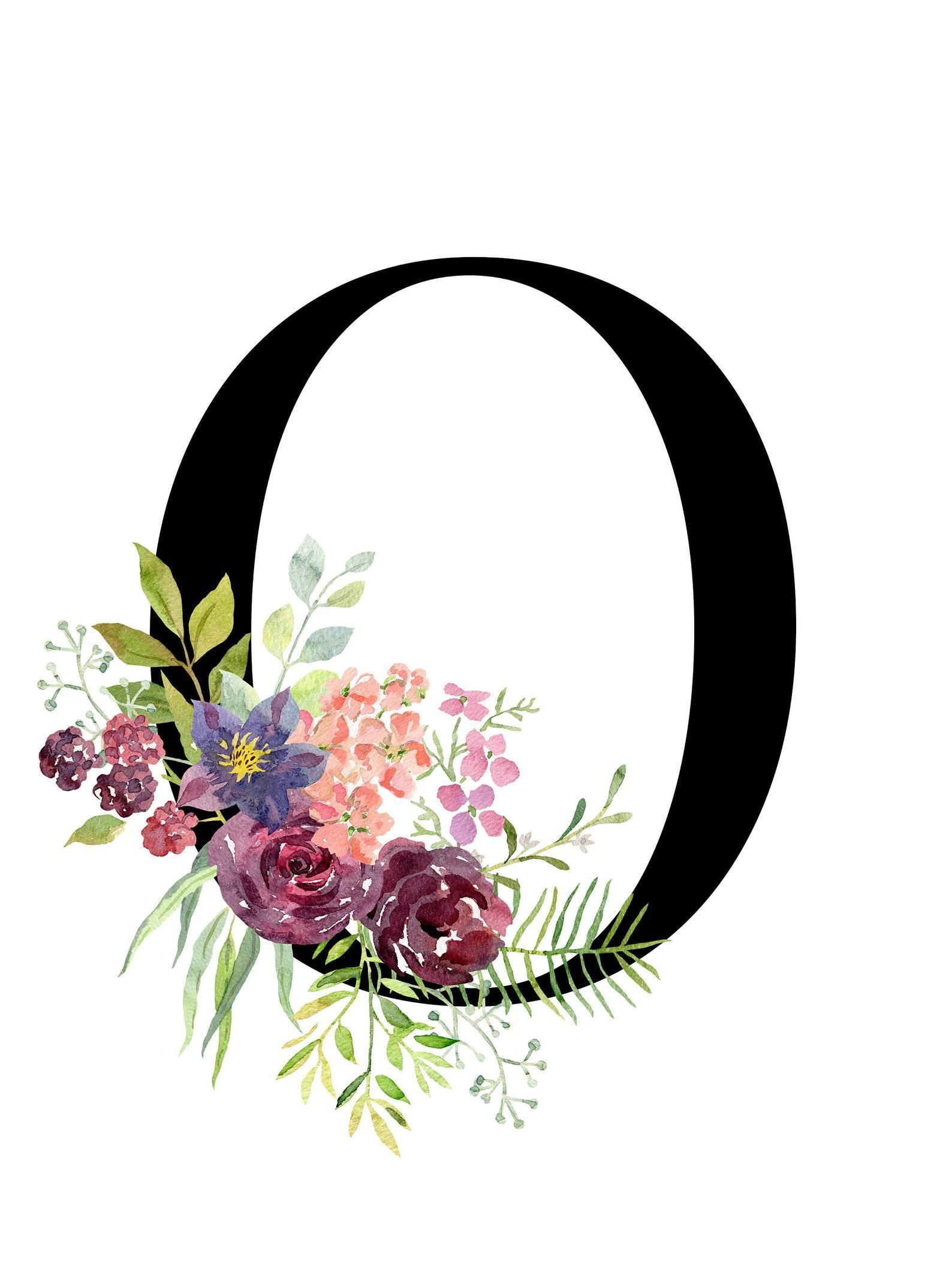 Photo of Letter O, Floral, monogram, Printable Letter,  Nursery Art, …