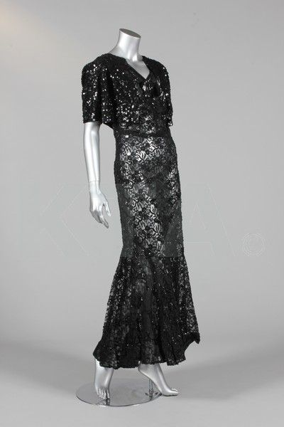 A black sequined lace evening gown and bolero, mid 1930s