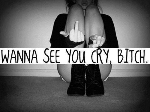 Quote, Cry Bitch, Black  White, Middle Finger, Tumblr -3904