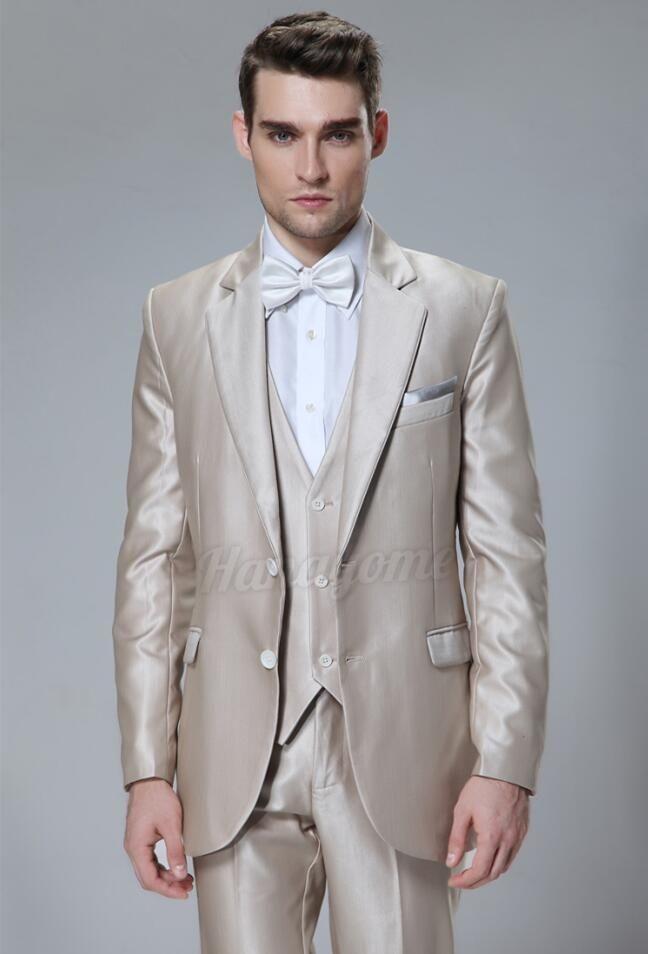 Latest Coat Pant Designs Champagne Satin Formal Men Suit Skinny Prom ...