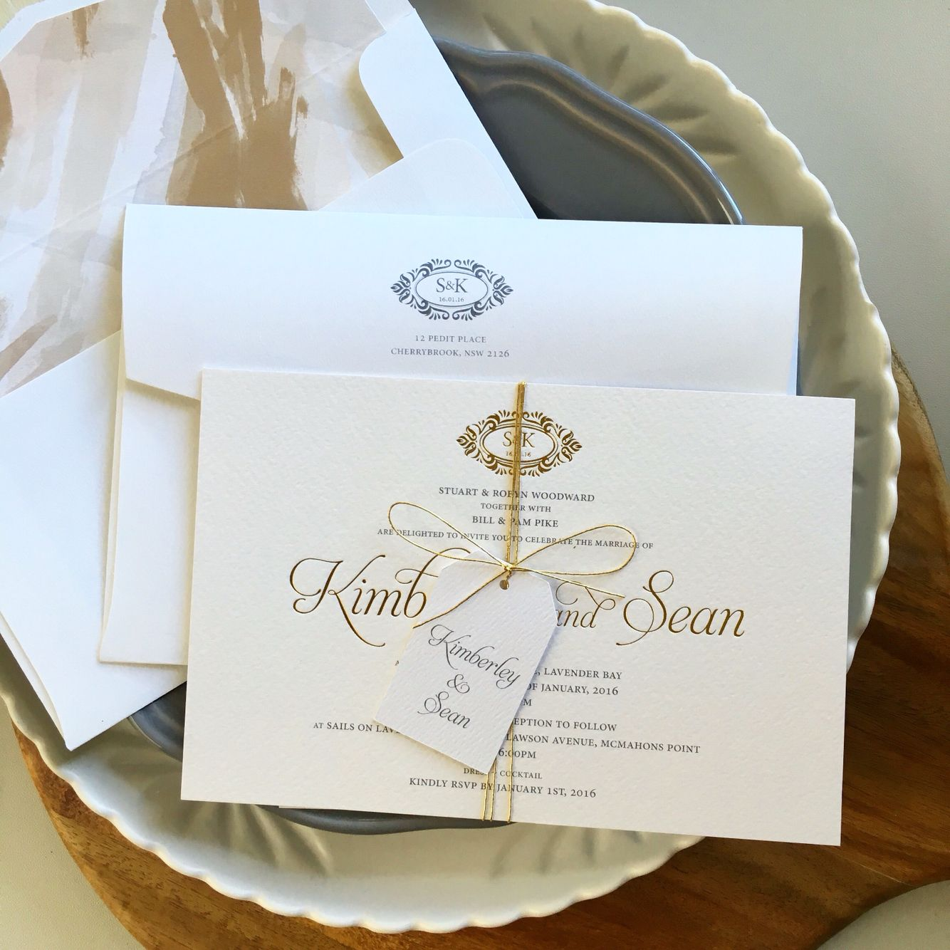 Gold Foil Grey Print Wedding Invitations Featuring Swirled Gold