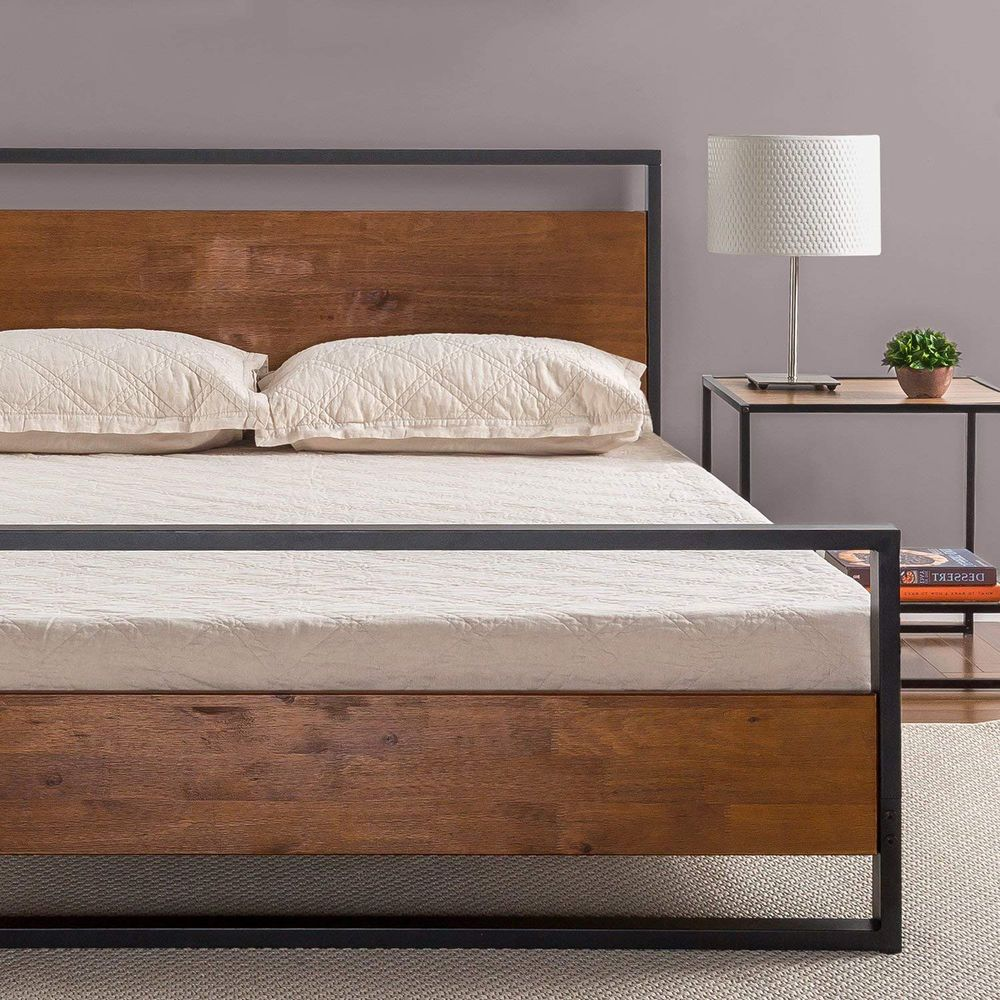 Low Platform Bed Frame Rustic Queen Size Metal Wood With Headboard