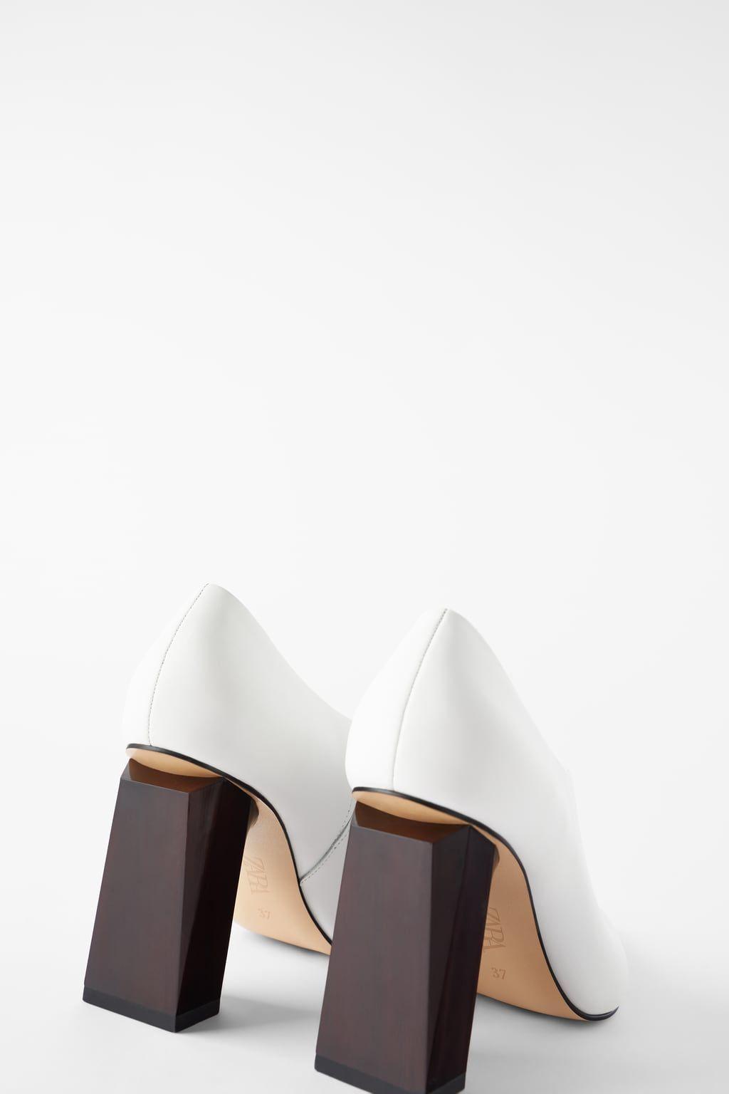 Geometric Heeled Leather Shoes Shoes Woman Shoes Bags Zara
