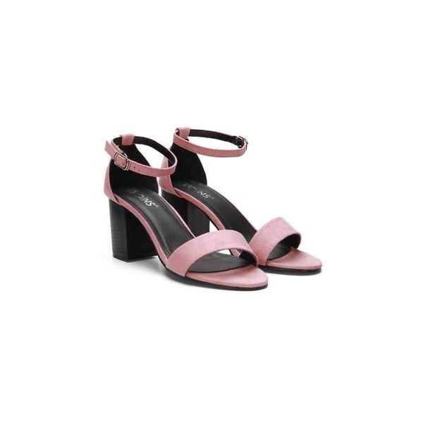 Yoins Pink Ankle Strap Peep Toe Chunky Heel Suede Sandals (438.945 IDR) ❤ liked on Polyvore featuring shoes, sandals, synthetic shoes, summer shoes, suede shoes, suede sandals and ankle strap shoes