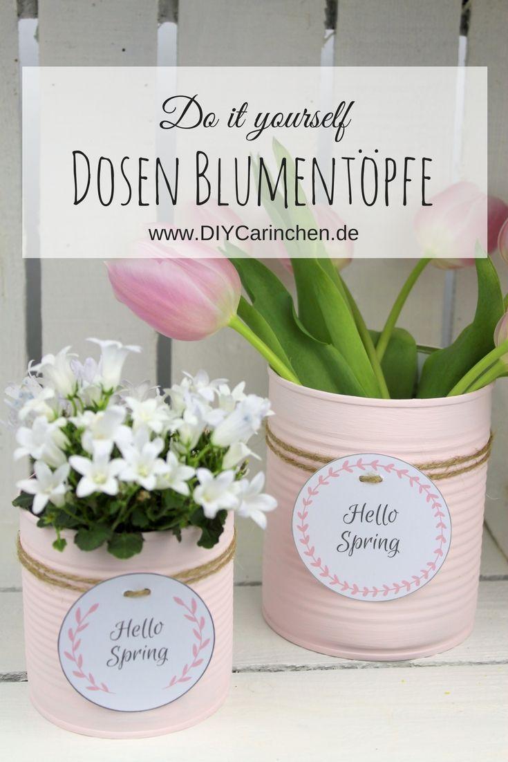 DIY Recycling Bastelidee: Blumentopf aus einer Konservendose in zartem rosa + kostenlosem Etikett #gartenrecycling