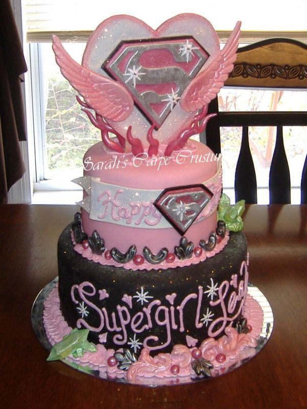 Supergirl Cake Perhaps A Bit Too Much Pinkmaybe Traditional Colors