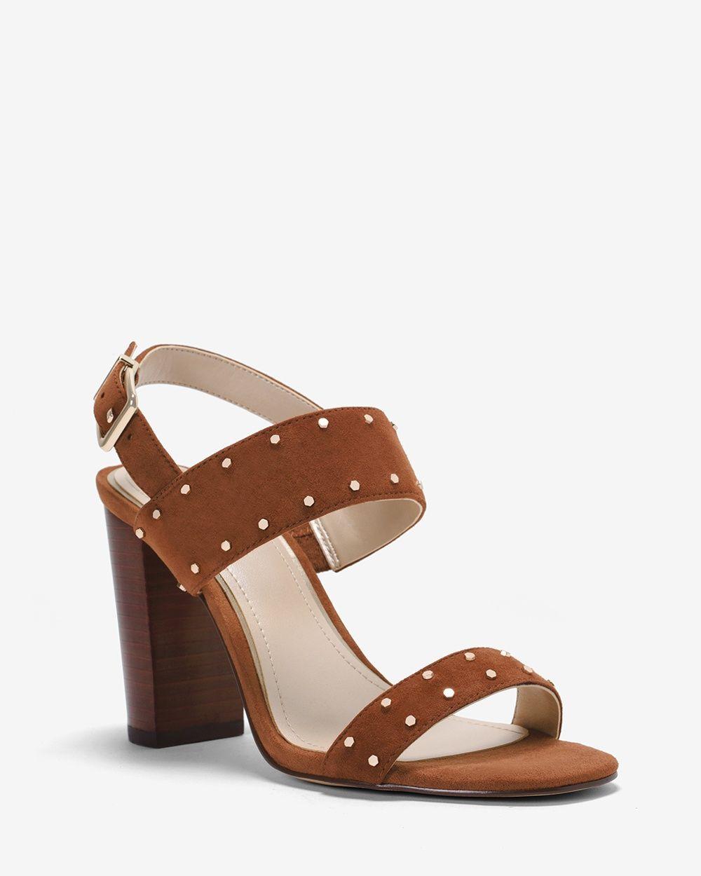 07c10800af23 Studded Suede Chunky Heels