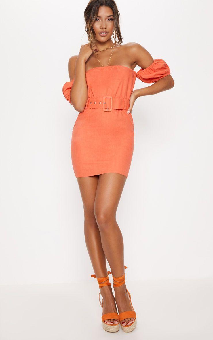 9e123d954c16 Orange Belt Detail Bardot Shift Dress