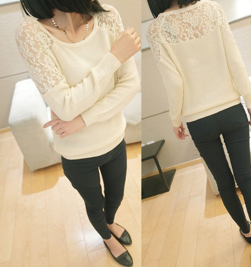 The new sweaters 2014 women fashion spring and fall back openwork ...