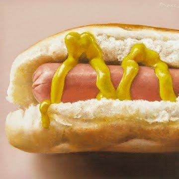 Hot Dog with Yellow Mustard, painting by artist Oriana Kacicek