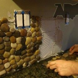 Installing River Pebble Backsplash Farmhouse Kitchen Backsplash