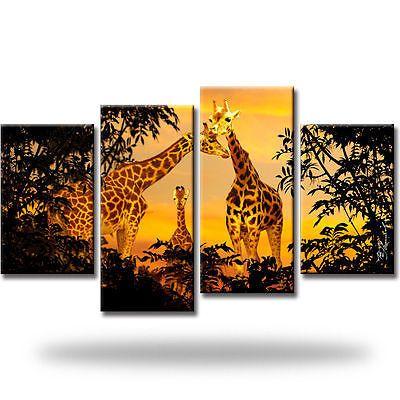 Giraffen Afrika Natur Tiere Bild Bilder Wandbild Kunstdruck  5 Teilig