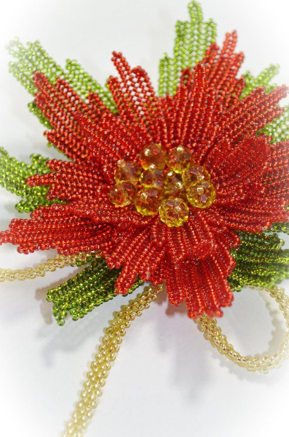 c0f1c1122d1 Red Beaded Flower Brooch Christmas Star Brooch Pin Statement Handwoven  Floral Poinsettia Large Brooc