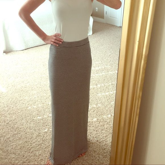 Super soft skirt Soft striped floor length skirt with side slit. Bought at boutique.  Not j.crew J. Crew Skirts