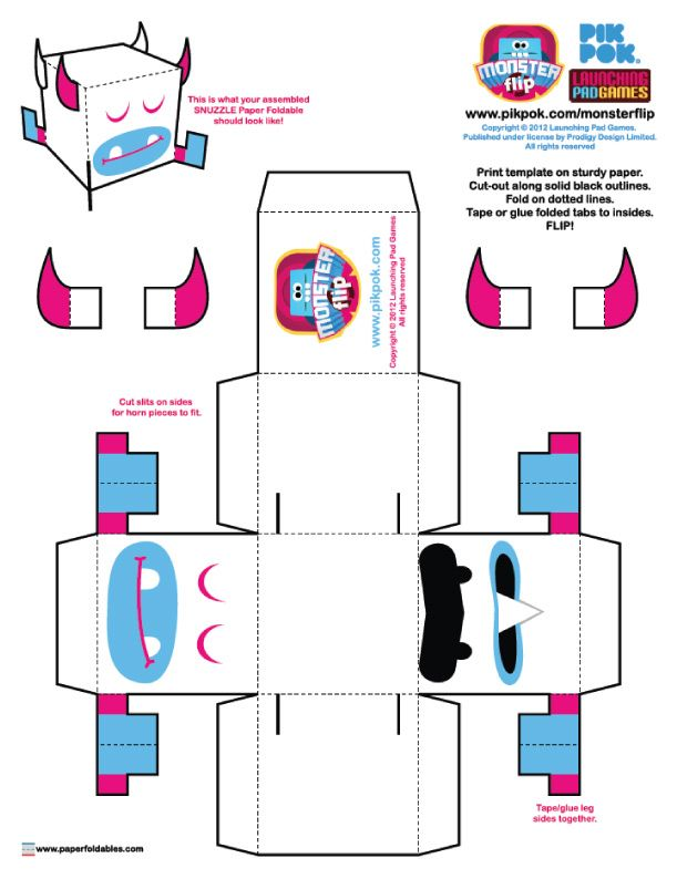 Monster Flip Paper Toys Paper toys, Monsters and Template - print lines on paper