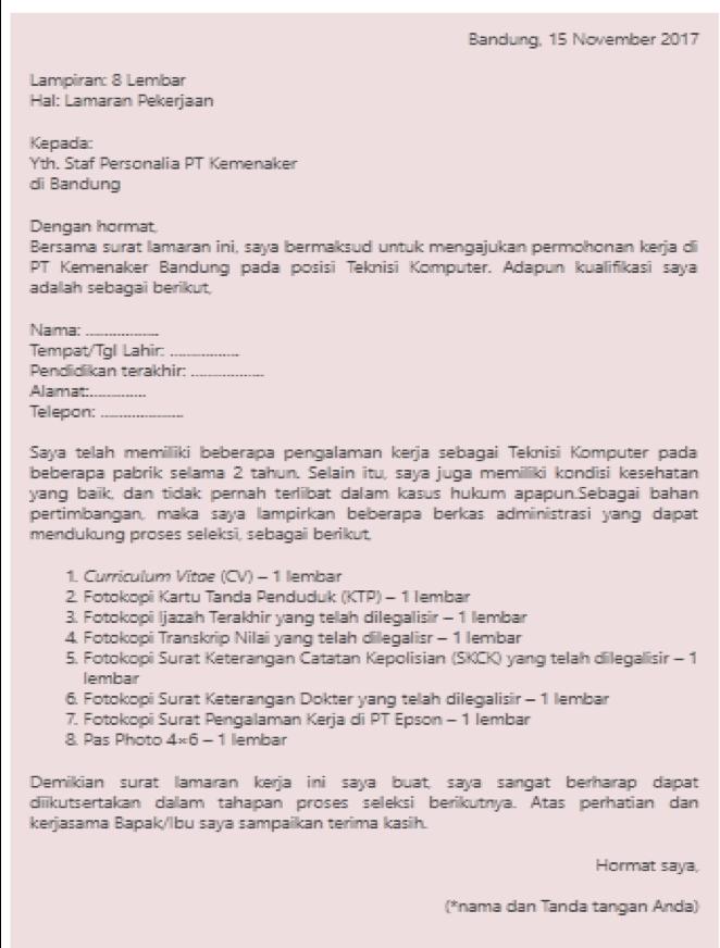 Contoh Surat Lamaran Kerja Di Pt Epson Contoh Lif Co Id