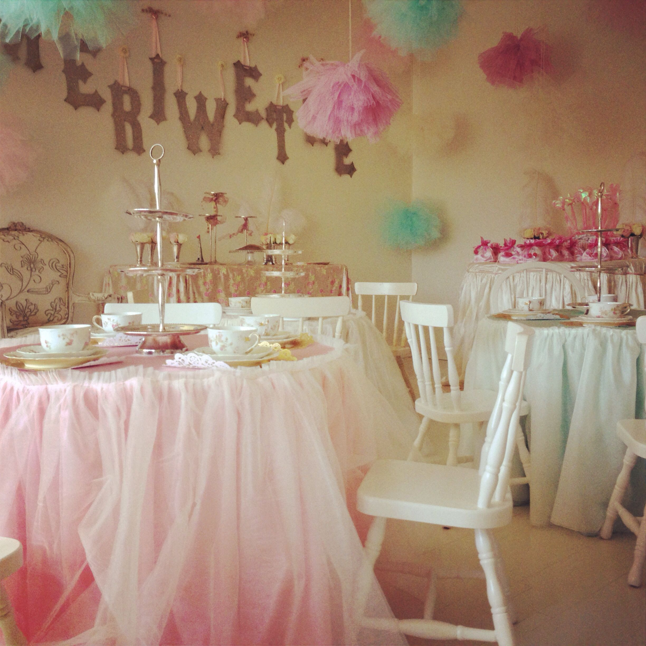 Marie Antoinette Tea Party Decorations Tulle Tableskirts Tulle Balls Princess 3 Rd Birthday Glitter Le Tea Party Decorations Tea Party Birthday Tulle Table