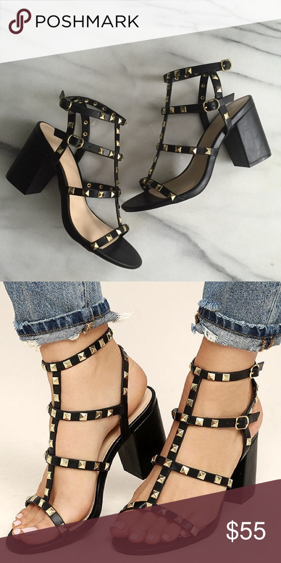 7c4e57a628f Black Studded Caged Ankle Strap Block Heel Sandals Gold studs. Adjustable  ankle strap. Buckle closure. Cushioned insole. Nonskid rubber sole.