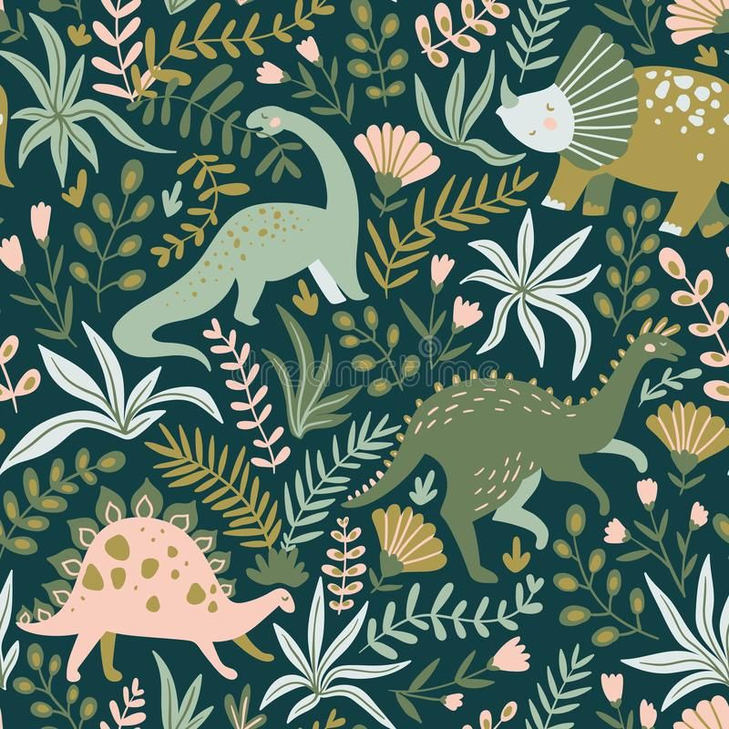 Hand Drawn Seamless Pattern With Dinosaurs And Tropical Leaves And Flowers. Vector Illustration. Stock Vector - Illustration of cute, background: 128416952
