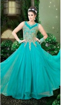 Turquoise Color Net Embroidery Work Party Wear Style Gowns