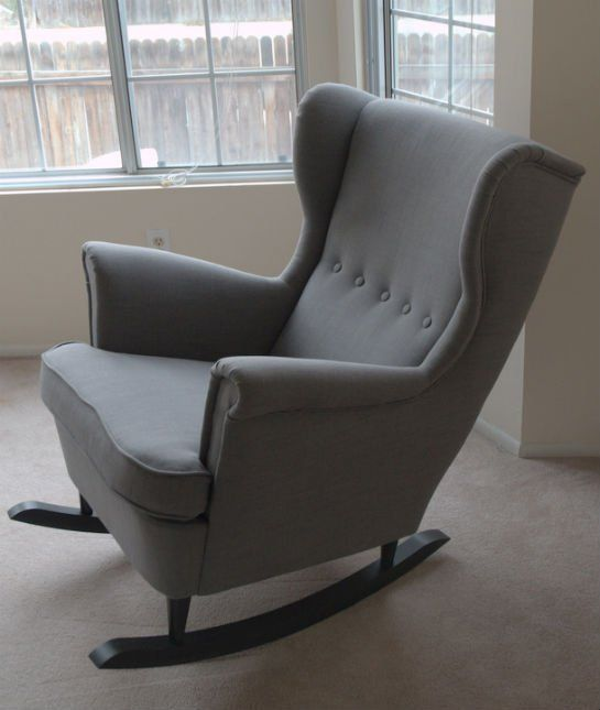 Awesome DIY Alert: Turn A Regular Wingback Chair From IKEA Into This  WIngback Rocking Chair