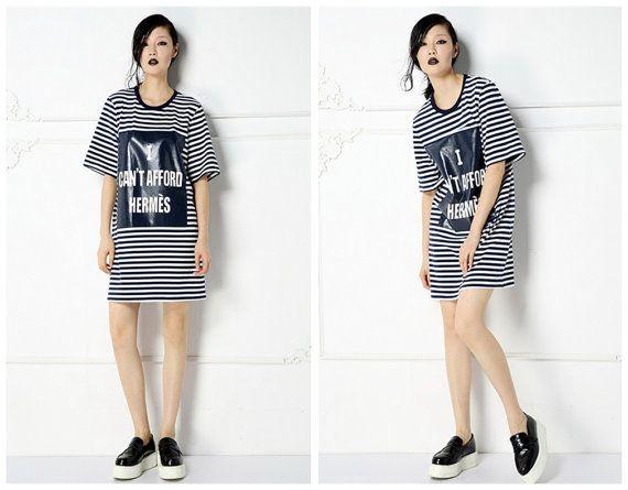 women stripe dressletter printcasualloose by HerselfStudios