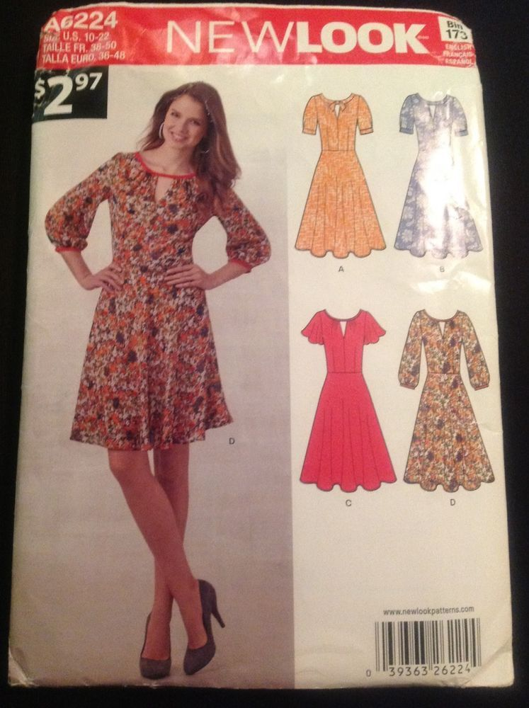 New Look A6224 Misses Dresses Sewing Pattern In English, French ...
