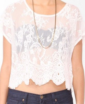Sheer Boxy Lace Top   FOREVER21 - 2017305959