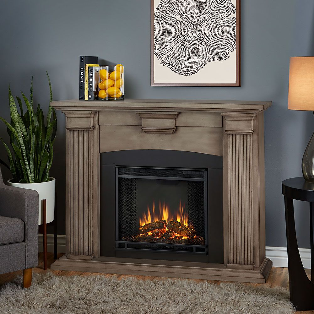 Real flame adelaide dry brush white electric fireplace