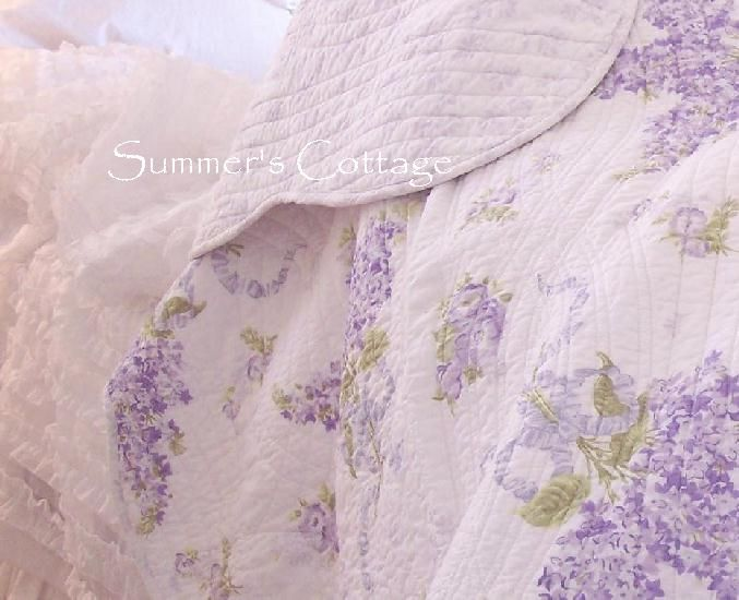 lavender Shabby Chic  | Lavender Roses Summer Lilacs King Quilt Set