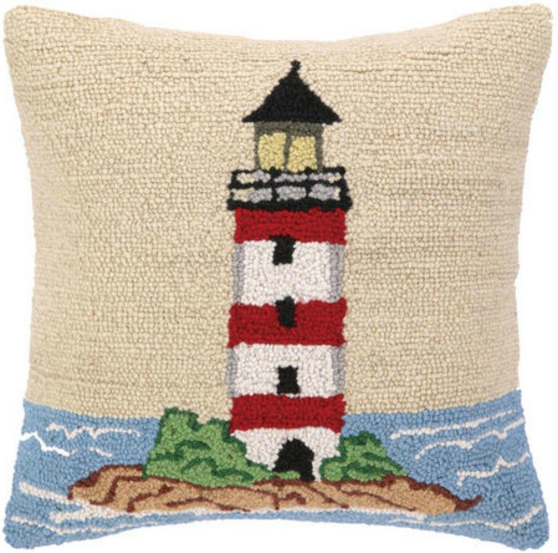 Rocky island lighthouse wool hooked pillow hooked pillows pinterest