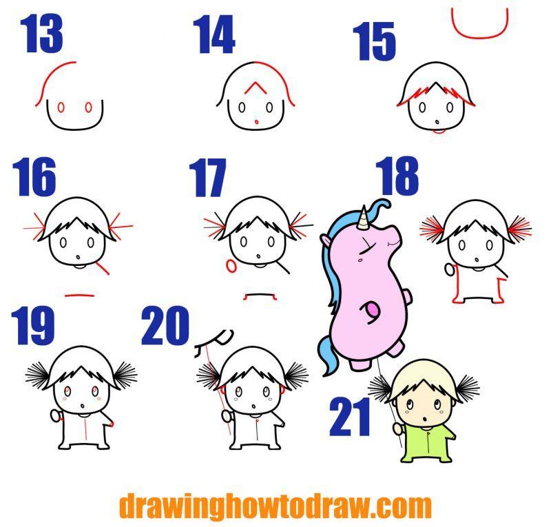 How To Draw A Cute Cartoon Kawaii Girl With Her Unicorn Balloon