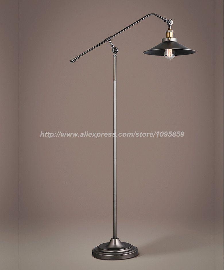 Retro Long Arm Fishing Floor Lamps Lights Bedroom Black Color Metal Bedside Standard Lighting Vintage Floor Lamp Metal Bedside Lamp