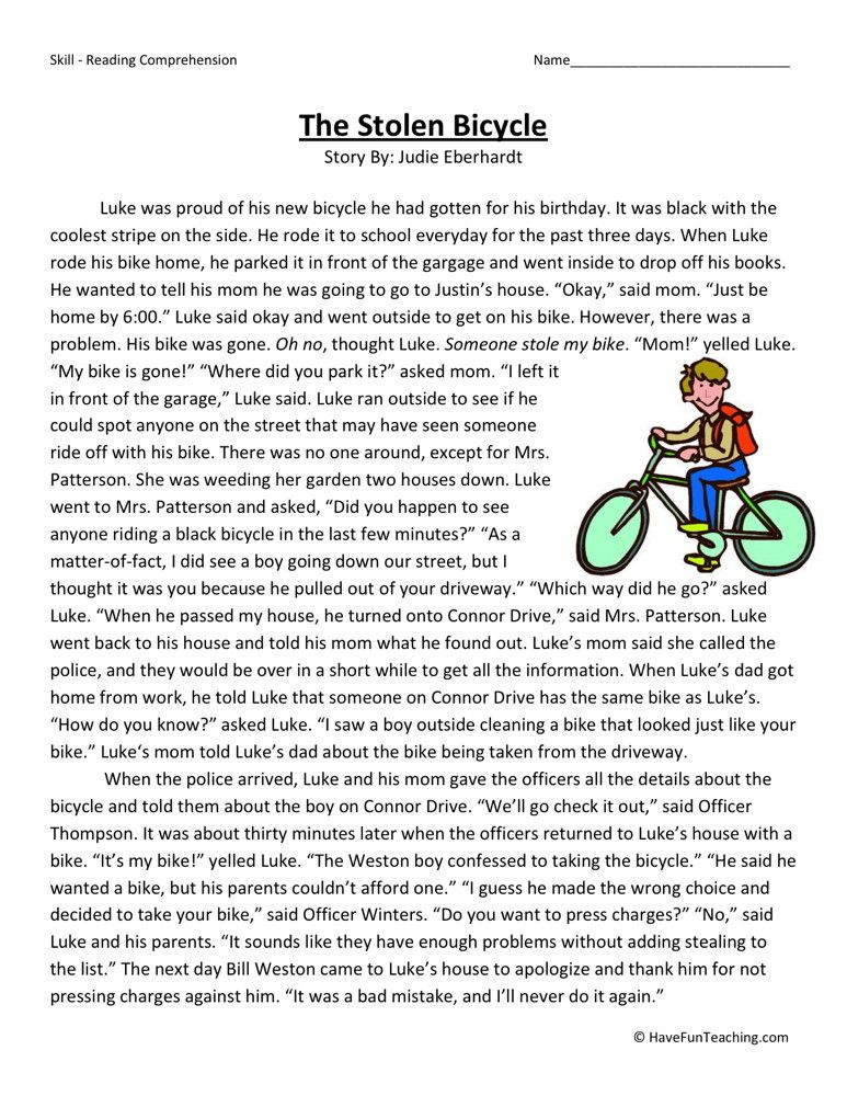 Reading Prehension Worksheet The Stolen Bicycle