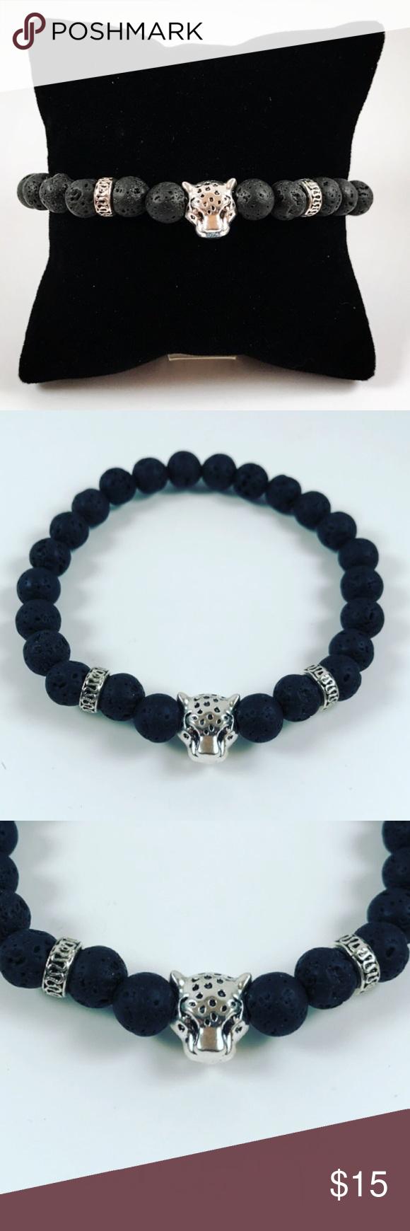 HP Men lava rock panther head beaded bracelet Men bead bracelet