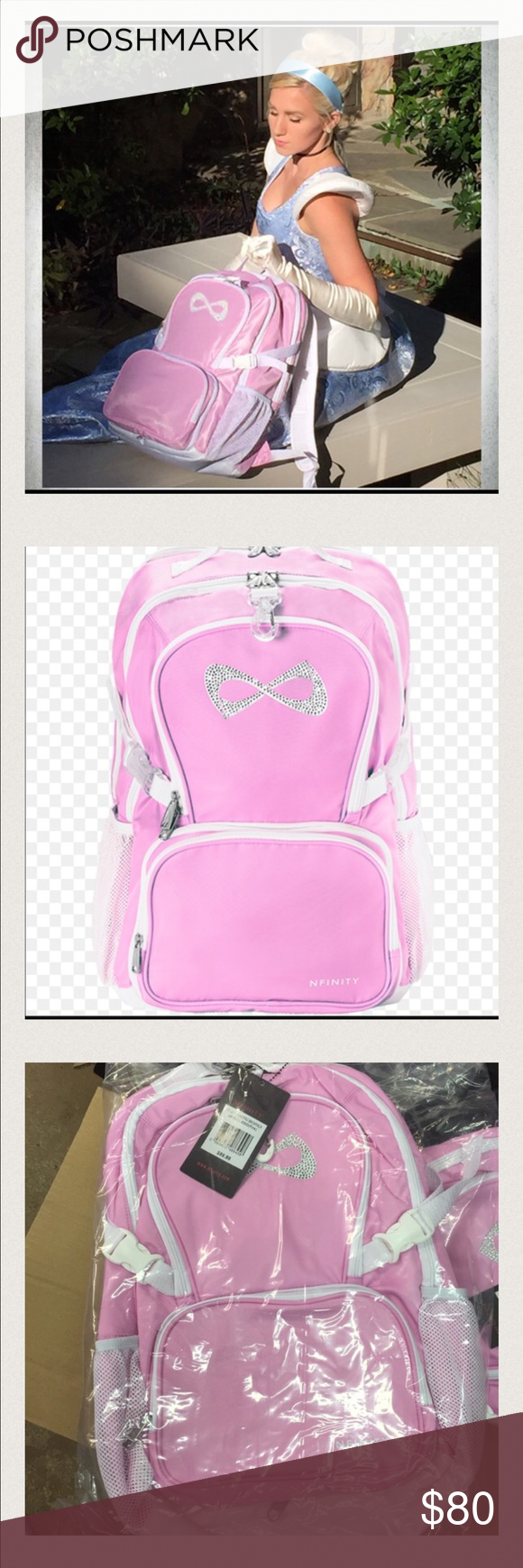 Princess backpack tonight sale Be the princess you know you are   ●   Lightweight 100% Nylon material  ●   Princess pink color  ●   Rhinestone sparkle logo  ●   Air-mesh padding on back for increased comfort and breathability  ●   Large interior design with 3 compartments and a padded laptop sleeve  ●   Detachable front pouch converts into a handy purse  ●   Multiple areas for embroidery and team customization  ●   Top Grab Handle  ●   Two water bottles   ●   White Nfinity® Logo interior…