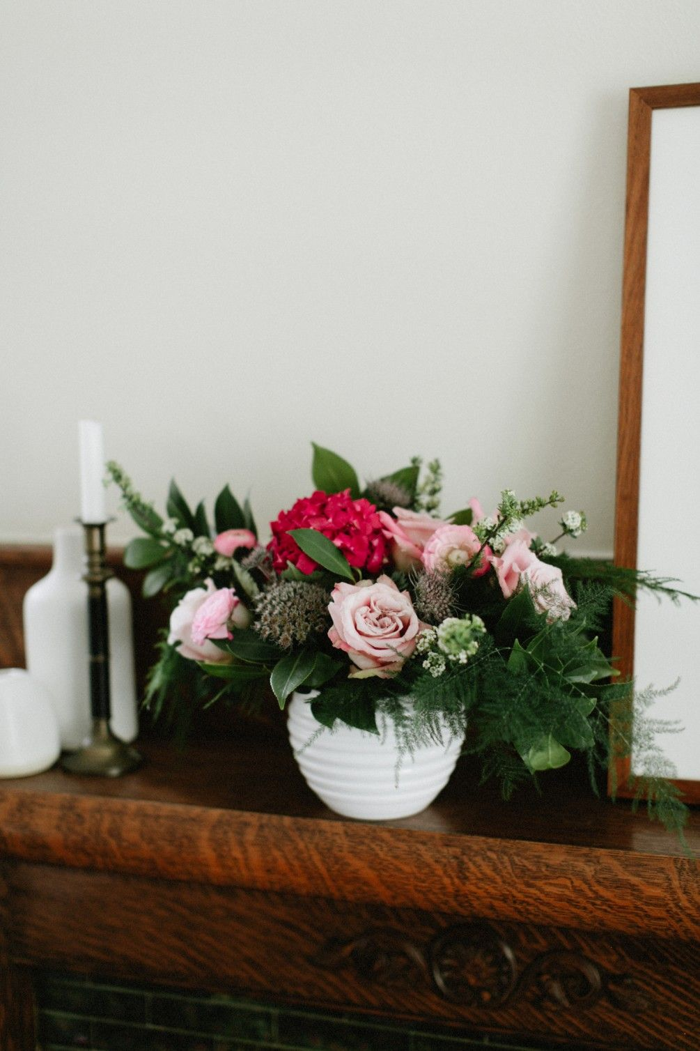 """""""Pink Antique"""" with roses, hydrangea, chocolate lace"""