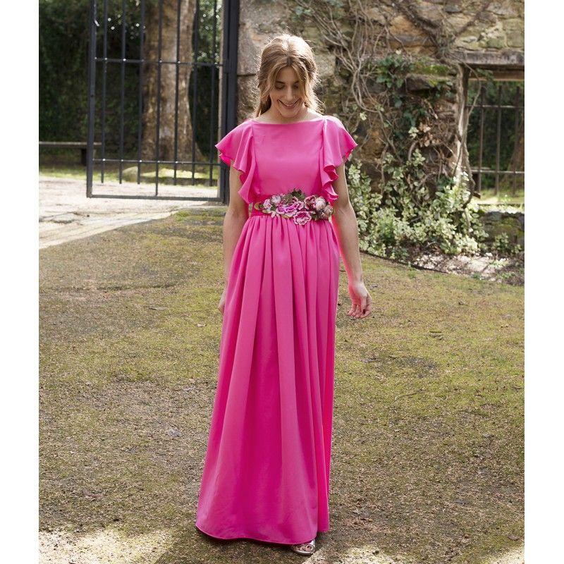 vestido largo con volantes fucsia para boda   Vestidos Aluét ...