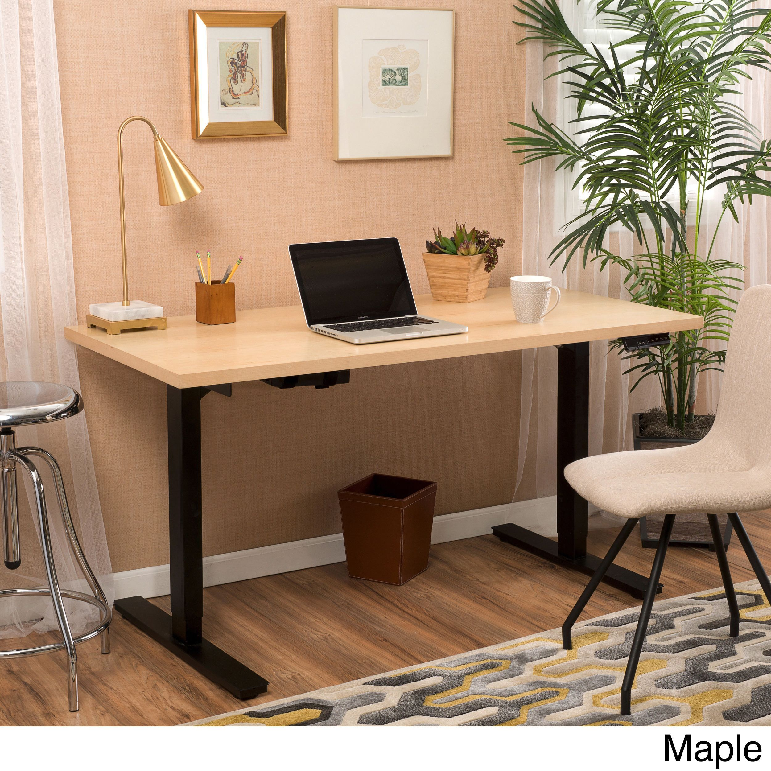 Wendell inch adjustable wood standing desk with dual powered base