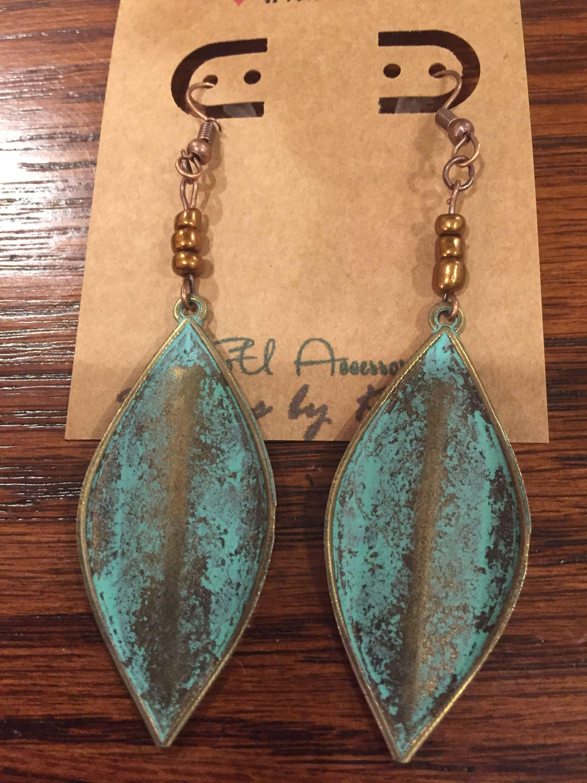 Verdigris Patina Vintage Maple Leaves Earrings Handmade Drop By Ksuaccessories On Etsy