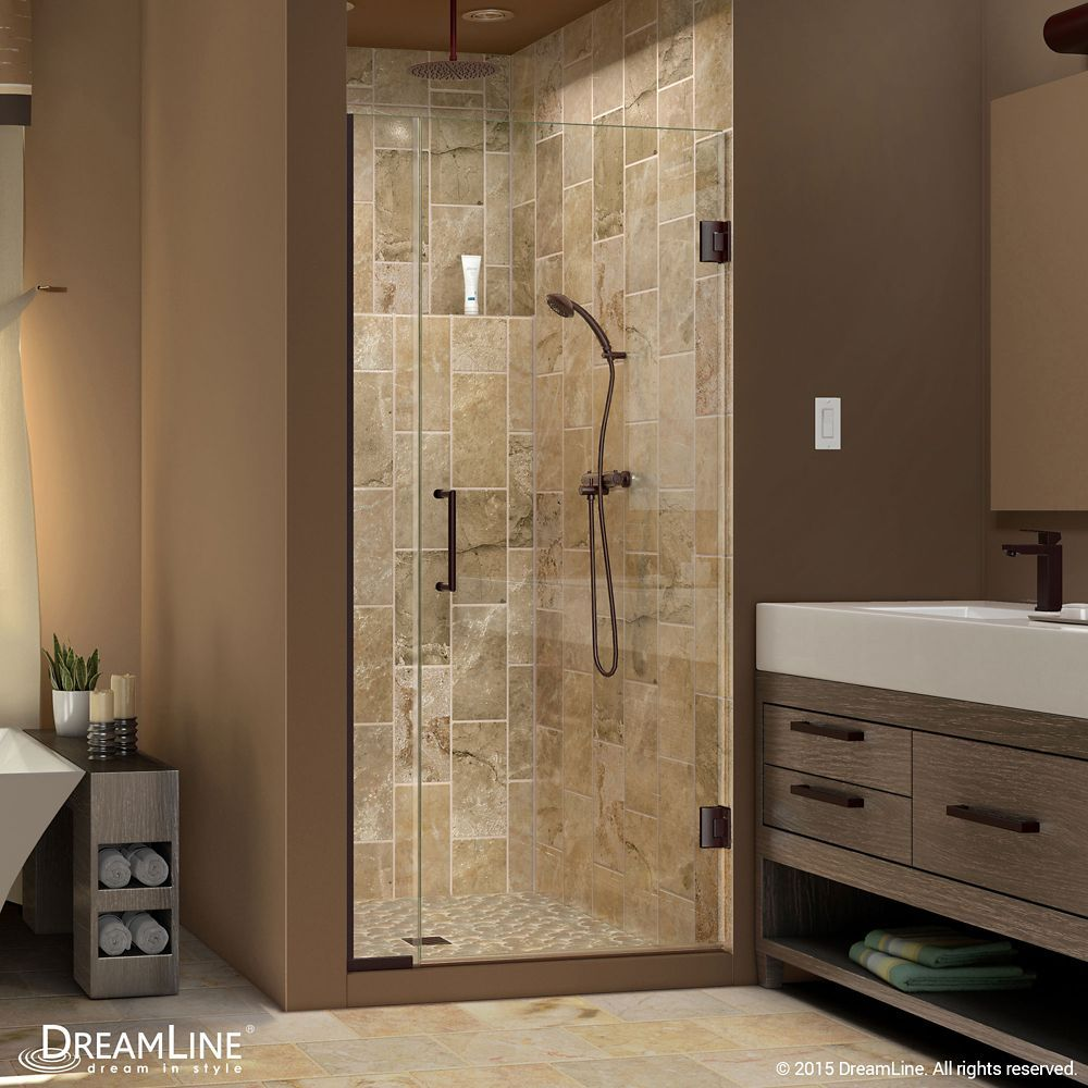 Basco A001 9cl Deluxe 63 1 2 High X 34 7 8 Wide Pivot Framed Shower Door With Oil Rubbed Bronze Showers Shower Doors Hinged Shower Doors Framed Shower Door Glass Shower Enclosures