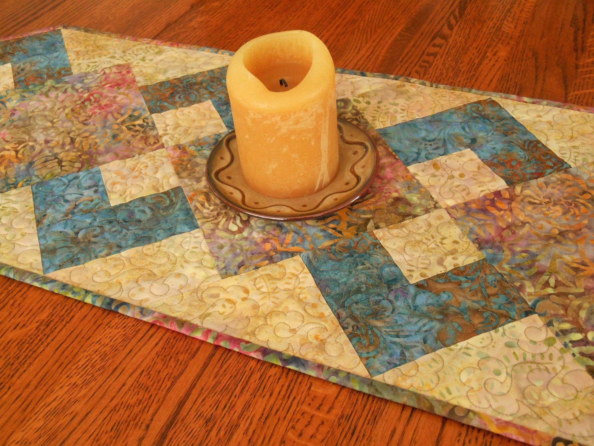 Quilted Batik Table Runner Boho Chic Style In Warm Shades Of Gold