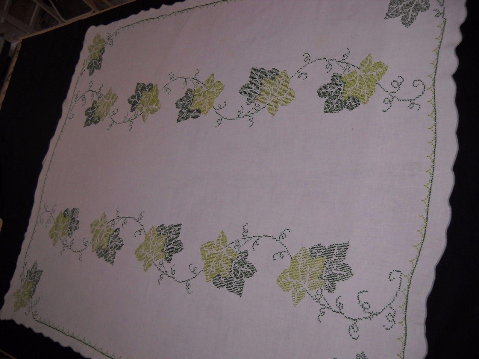 "VTG Cross Stitch Λινό Τραπεζομάντιλο 50 ""x 65"" Πράσινη αμπελόφυλλα 6…"