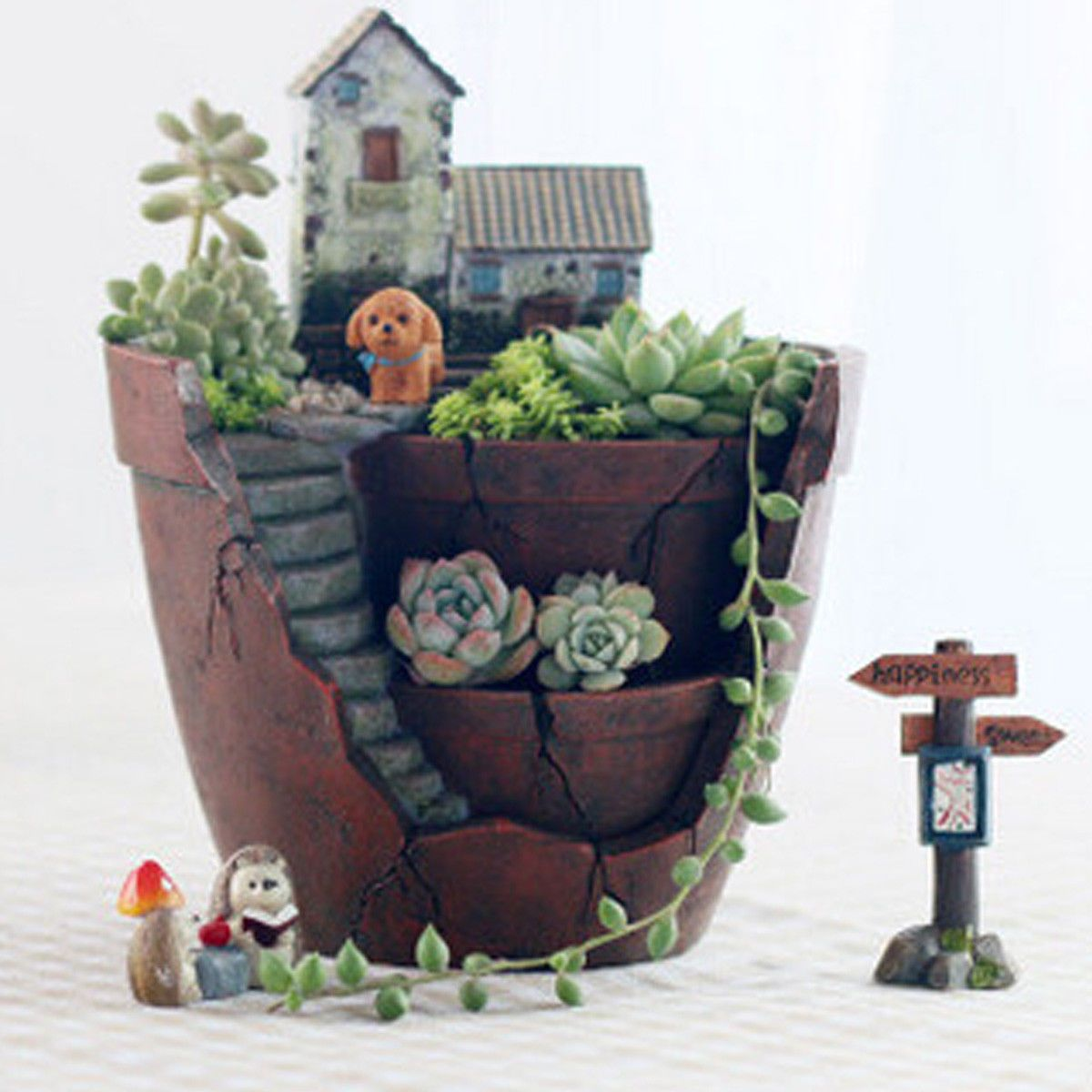Sky Garden Succulent Plant House Herb Flower Basket Planter Pot Trough Box