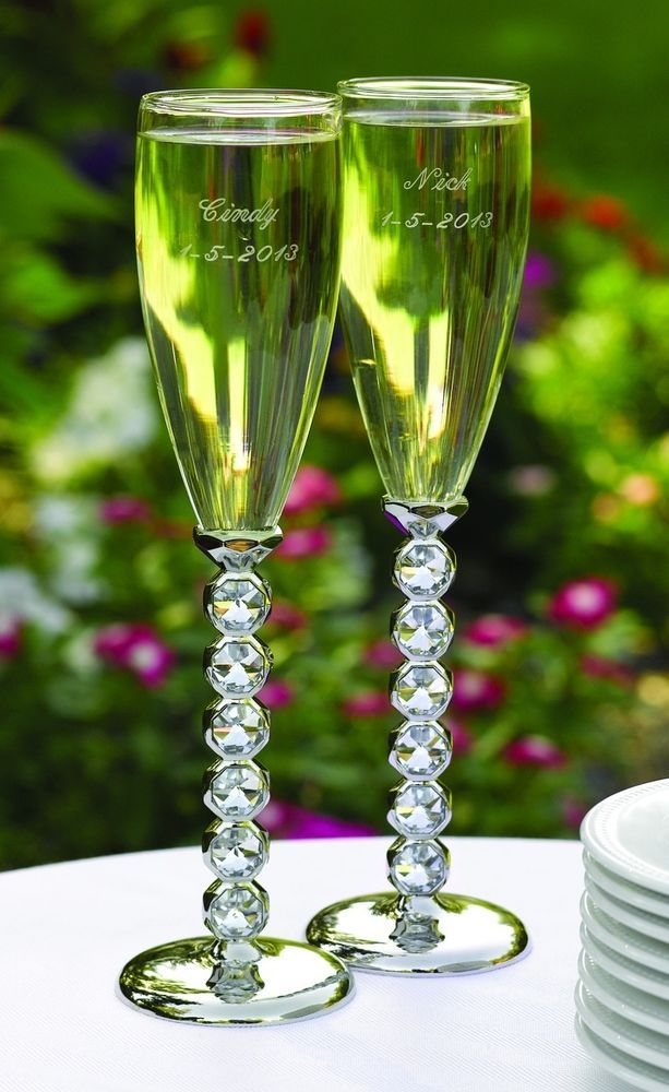 Diamond Stemmed Silverplate Wedding Toasting Flutes Glasses can be Personalized #Hortense